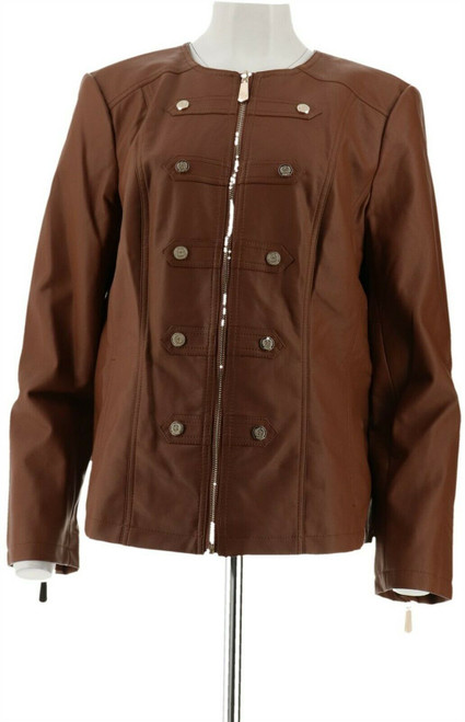 Dennis Basso Faux Leather Military Zip Front Jacket NEW A278704