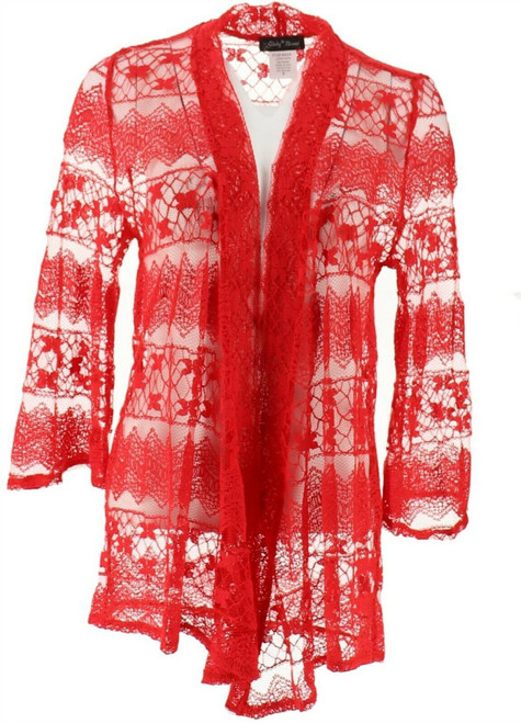 Slinky® Brand Bell-Slv Angle-Front Lace Jacket NEW 612-163