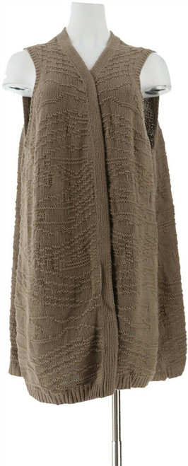 Lisa Rinna Collection Jacquard Sweater Duster Vest NEW A287390
