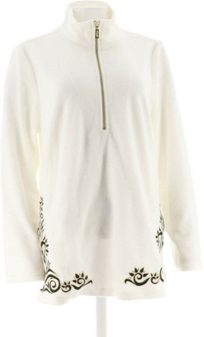 Bob Mackie Botanical Hem Embroidery Pull-Over NEW A284355