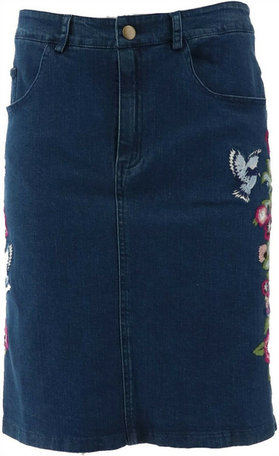 Colleen Lopez Embroidered Stretch Denim Skirt NEW 638-367