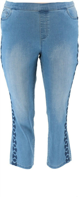 Denim& Co Soft Stretch Ankle Jeans Embroidery NEW A309765