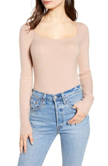 Leith Long Sleeve Sweater Bodysuit S Pink Adobe NEW
