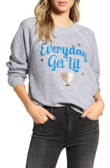 WILDFOX Sommers Everyday Get Lit Cotton Sweatshirt L Heather NEW