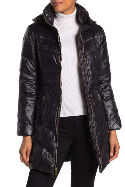 Via Spiga Quilted Puffer Jacket L Black NEW