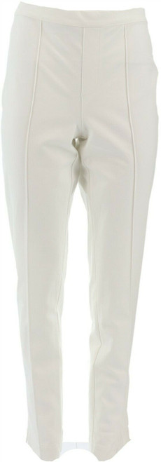 Isaac Mizrahi Tall 24/7 Stretch Ankle Pants Pintuck Bright White 12 # A289791