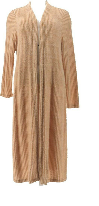 GILI Jacquard Open Front Knit Cardigan Beige 1X # A374932