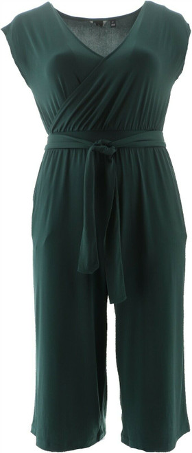 G by Giuliana Cropped Knit Jumpsuit Spruce L 695-571