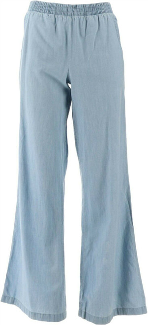 Denim & Co Chambray Pull-On Wide Leg Pants NEW A278352