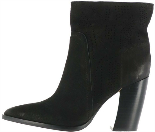 Vince Camuto Leather Perforated Ankle Boots Catheryna Black 10M # A370842