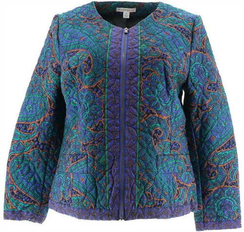Isaac Mizrahi Paisley Quilted Zip Front Jacket NEW A256497