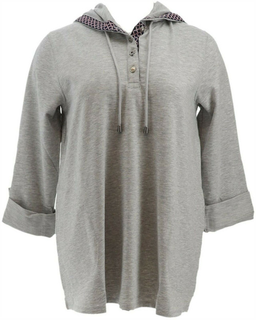 Susan Graver Weekend French Terry Tunic Buttons NEW A285033