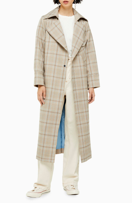 TOPSHOP Editor Check Trench Coat 4 Beige Multi NEW