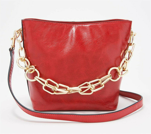Vince Camuto Leather Bucket Bag Chain Strap Ivy A369758