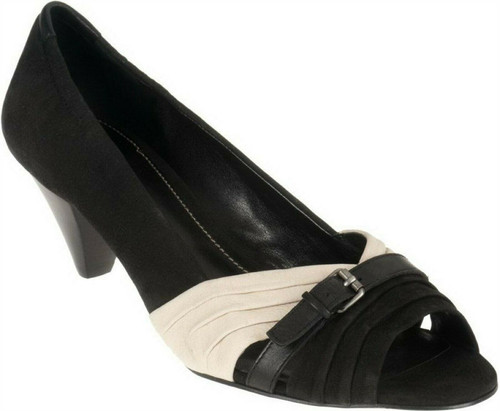 B Makowsky Leather Pumps Ruching Buckle A213915