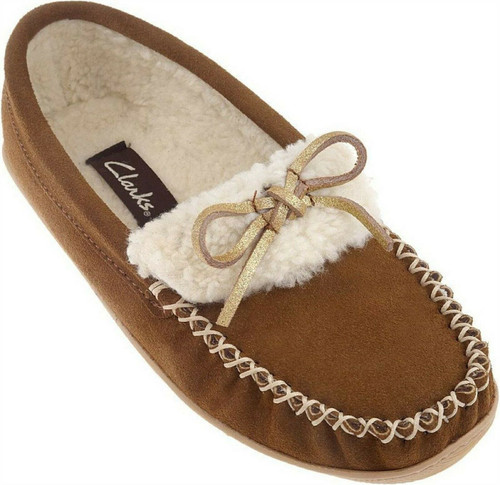 Clarks Suede Moccasin Slippers Faux Fur LiningBow A210955