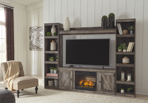 Wynnlow Gray Entertainment Center LG TV Stand, 2 Piers, Bridge with Fireplace Insert Infrared