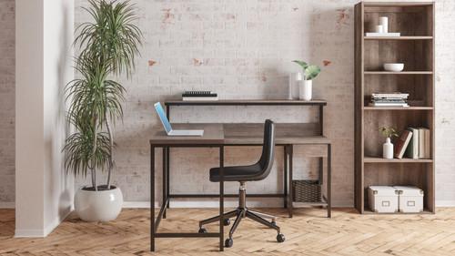 Arlenbry Gray L-Desk with Storage, Bookcase & Swivel Desk Chair