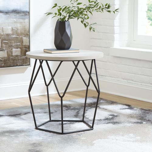 Waylowe Light Brown/Black Round End Table
