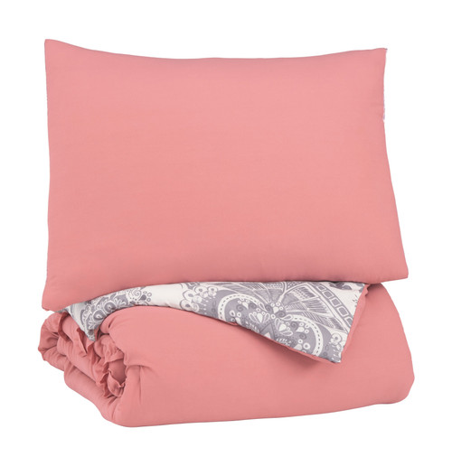 Avaleigh Pink/White/Gray Twin Comforter Set