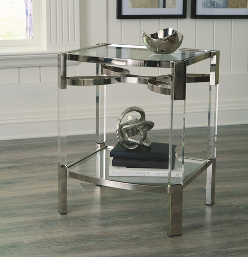Chaseton Clear/Silver Finish Accent Table