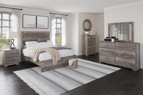 Ralinksi Gray 6 Pc. Dresser, Mirror, Full Panel Bed, 2 Nightstands
