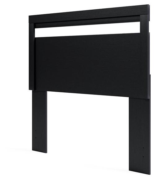 Flannia Black Full Panel Headboard