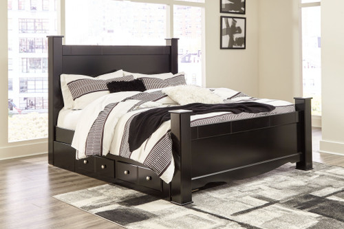 Mirlotown Almost Black King Poster Bed with Storage