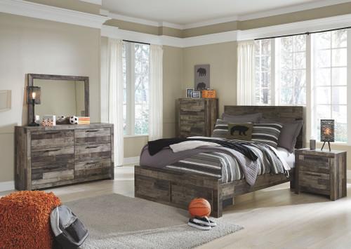 Derekson Multi Gray 8 Pc. Full Panel Bed with 2 Storage Drawers, Dresser, Mirror, Chest, Nightstand