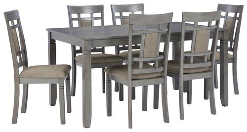 Jayemyer Charcoal Gray Rectangular DRM Table Set (7/CN)