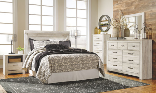Bellaby Whitewash 7 Pc. Dresser, Mirror, Chest, Queen Panel Headboard with Bolt on Bed Frame, 2 Nightstands
