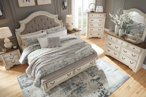 Realyn Chipped White 6 Pc. Dresser, Mirror, Chest, Queen Upholstered Bed