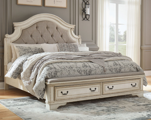 Realyn Chipped White King Upholstered Bed