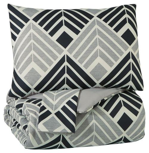 Ellowyn Black/Gray/Bone Queen Comforter Set