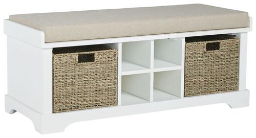 Dowdy White Storage Bench
