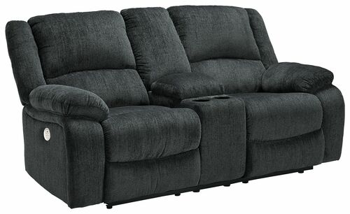 Draycoll Slate Double Reclining Power Loveseat w/Console