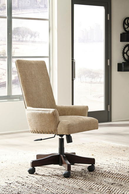 Baldridge Rustic Brown Upholstered Swivel Desk Chair