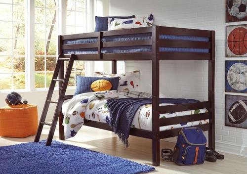 Halanton Dark Brown Twin/Twin Bunk Bed w/Ladder
