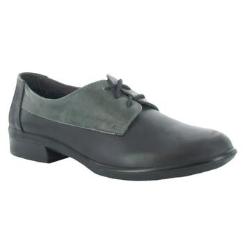 NAOT Womens Kedma Aura Jet Black/Tin Gray/Black Madras Shoes (26010-N2F)
