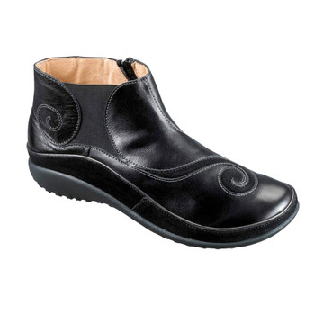 NAOT Womens Koru Chi Black Madras/Black Suede Boots (11021-824)