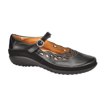 NAOT Womens Koru Rahina Black Madras/Black Suede Shoe (11038-824)