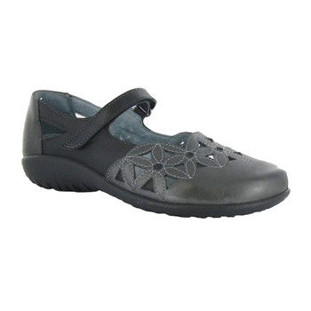 NAOT Womens Koru Toatoa Jet Black/Metallic Road Leather Shoe (11092-NJ0)
