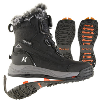 KORKERS Women's Snowmageddon Waterproof Black Boot with SnowTrac and IceTrac Soles (OB9420BK)
