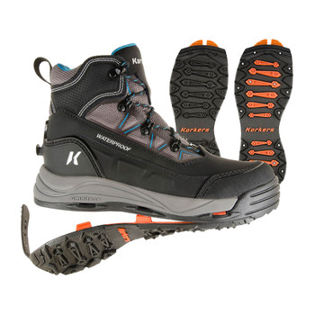 KORKERS Womens Verglas Ridge SnowTrac And IceTrac Soles Black/Grey Boot (OB9220BK)