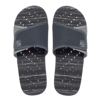 SHOWAFLOPS Mens Stripe Slide Perforated Strap Black/Gray Flip Flops (766)