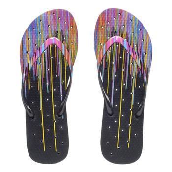 SHOWAFLOPS Womens Neon Drips Printed Strap Black/Multi Flip Flops (8015)