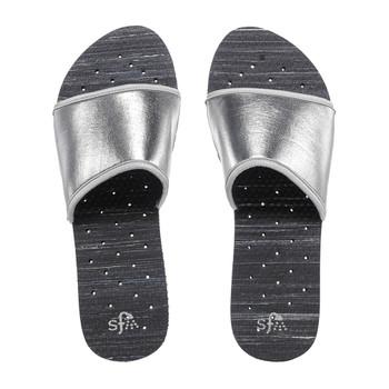 SHOWAFLOPS Womens Stripe Slide Neoprene Strap Black/Silver Flip Flops (2244)