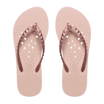 SHOWAFLOPS Womens Rose Gold Elongated Heart Iridescent Pyramid Stud Strap Flip Flops (4007)
