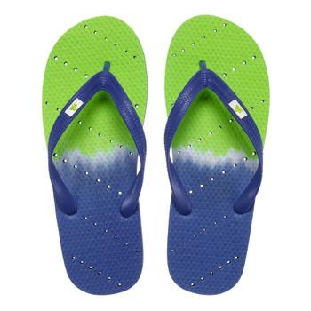 SHOWAFLOPS Mens Blue/Green Ombre Royal/White/Lime Flip Flops (650)