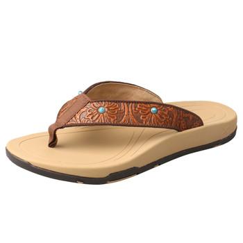 TWISTED X Women's Tan/Tooled Sandal (WSD0033)